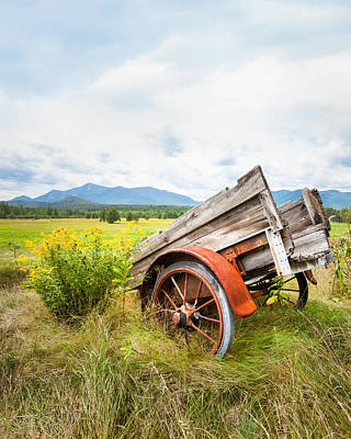 Print featuring the photograph Wagon And Wildflowers - Vertical Composition by Gary Heller