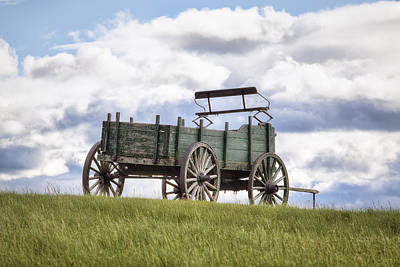 Wooden Farm Wagon Photograph - Wagon On A Hill by Eric Gendron