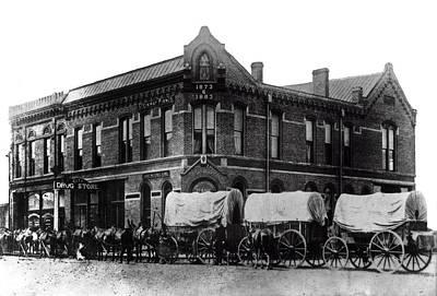 Wagon Train In Downtown Spokane - 1880 Art Print