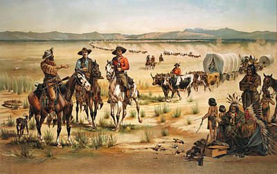 Wagon Train Print by Unknown