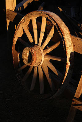 Yermo Photograph - Wagon Wheel At Sundown by Michael Hope