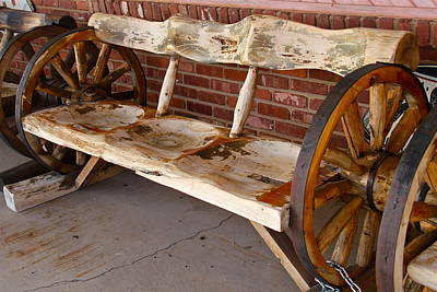 Photograph - Wagon Wheel Bench by Denise Mazzocco