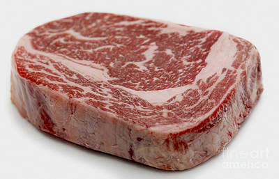 Wagyu Ribeye Steak Raw Art Print by Paul Cowan