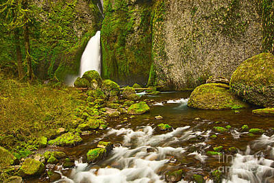 Fluid Photograph - Wahclella Falls In The Columbia River Gorge In Oregon. by Jamie Pham