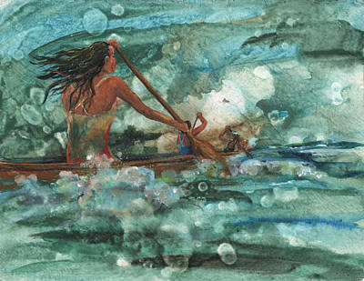 Outrigger Painting - Wahines Of The Waves by Lisa Bunge
