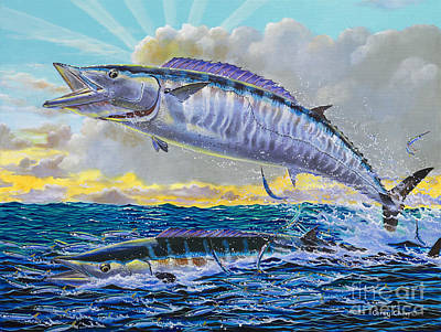 Shark Painting - Wahoo Sunrise Off0064 by Carey Chen