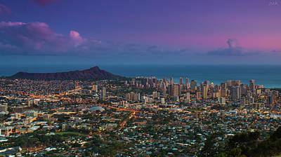 Sunset Photograph - Waikiki And Diamond Head At Sunset by J. Andruckow