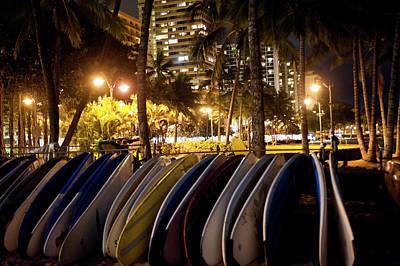Suburban Photograph - Waikiki Beach By Night by Daisy Gilardini