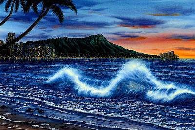 Waikiki Beach Sunset Art Print by John YATO
