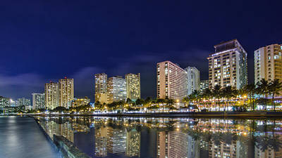 Waikiki Cityscape At Night  Art Print