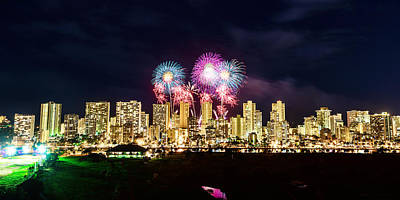Photograph - Waikiki Fireworks Celebration 2 by Jason Chu