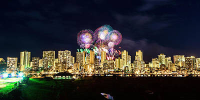 Photograph - Waikiki Fireworks Celebration 3 by Jason Chu