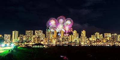 Photograph - Waikiki Fireworks Celebration 4 by Jason Chu