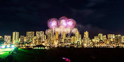 Photograph - Waikiki Fireworks Celebration 5 by Jason Chu