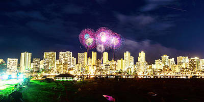 Photograph - Waikiki Fireworks Celebration 6 by Jason Chu
