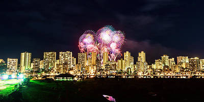 Photograph - Waikiki Fireworks Celebration 8 by Jason Chu
