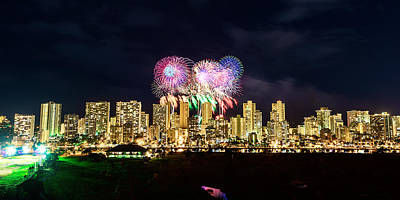 Photograph - Waikiki Fireworks Celebration 9 by Jason Chu