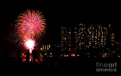 Waikiki Fireworks Art Print by Kristine Merc