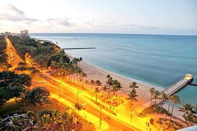 Photograph - Waikiki Honolulu Beach View Early Morning Sunrise by Marek Poplawski