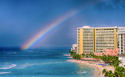Waikiki Rainbow Art Print by Tin Lung Chao