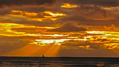 Photograph - Waikiki Sun Set by John Johnson