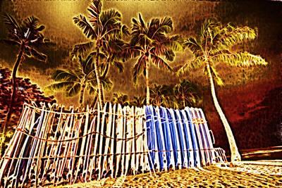 Waikiki Surf- Hawaii Art Print by Douglas Barnard