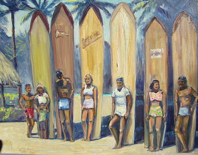 Surfer Girl Painting - Waikiki Vintage Surfers by Michael Knowlton