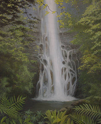Wailua Falls Art Print by Wallace Kong