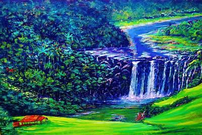 Painting - Waimea Falls - Horizontal by Joseph   Ruff