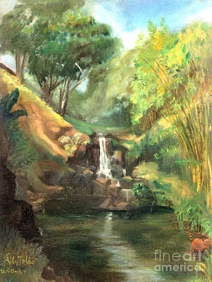 Painting - Waimea Falls Oahu Hawaii - 1970 by Art By Tolpo Collection