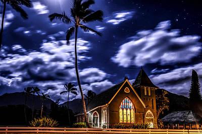Waioli Huiia Church By Moonlight Art Print by Mike  Neal