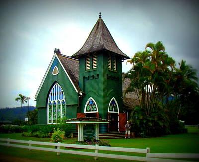 Tropical Stain Glass Photograph - Waioli Huiia Church In Hanalei Kauai by Melinda Baugh