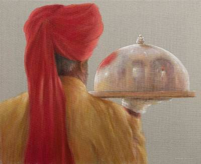 Cloche Photograph - Waiter, Rambagh Palace, 2010 Acrylic On Canvas by Lincoln Seligman