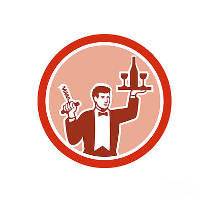 Waiter Digital Art - Waiter Serving Wine Holding Corkscrew Retro by Aloysius Patrimonio