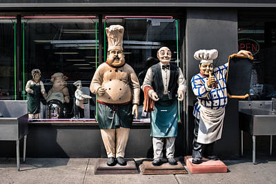 Photograph - Waiters And Chefs - Food Service Industry Statues by Gary Heller