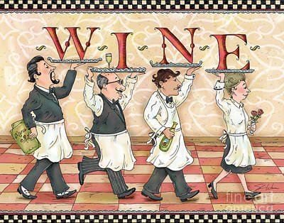 People Mixed Media - Waiters Wine by Shari Warren