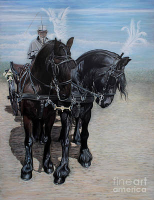 Pair Driving Painting - Waiting Again Boys by Caroline Collinson
