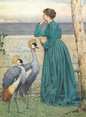 Crane Painting - Waiting And Watching by Henry Stacey Marks