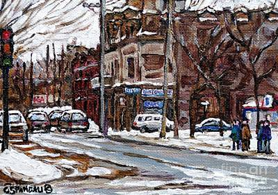Depanneur Painting - Waiting At The 57 Bus Stop Cold Day In Psc Friperie Point Couture Montreal Winter City Scene  by Carole Spandau