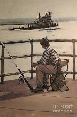 South Boston Painting - Waiting At Castle Island by Deb Putnam