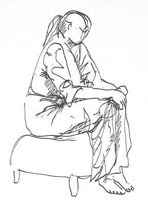 Hip Drawing - Waiting by Deborah Dendler