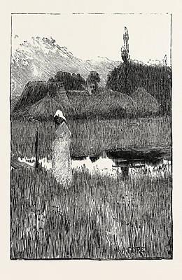 Waiting, Engraving 1884 Art Print