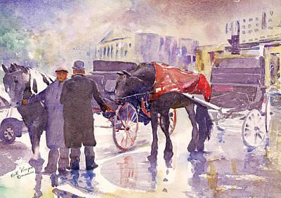 Grafton Painting - Waiting For Custom Grafton Street Dublin by Keith Thompson