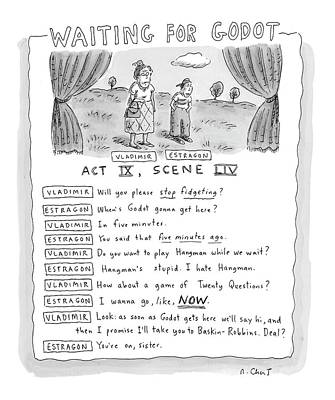 Waiting For Drawing - 'waiting For Godot' by Roz Chast