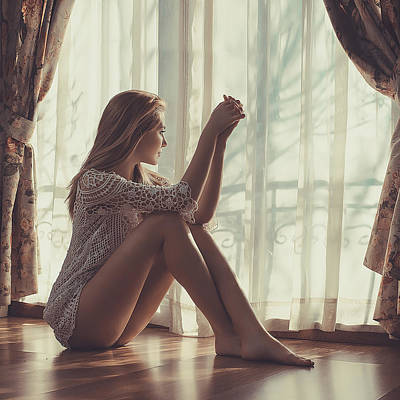 Curtains Photograph - Waiting For Love by Kalynsky