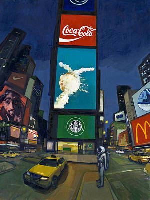 Time Square Painting - Waiting For Ostoj by Scott Listfield