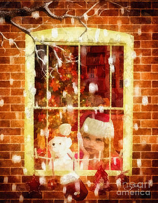 Christmas Eve Painting - Waiting For Santa by Mo T