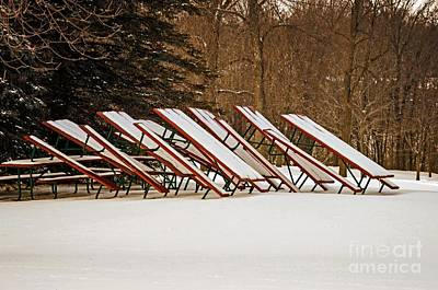 Waiting For Summer - Picnic Tables Art Print by Mary Machare