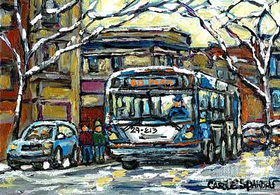 Painting - Waiting For The 80 Bus Montreal Memories Winter City Scene Painting January Art Carole Spandau Art by Carole Spandau