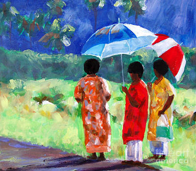 Busstop Painting - Waiting For The Bus by Karen Bower